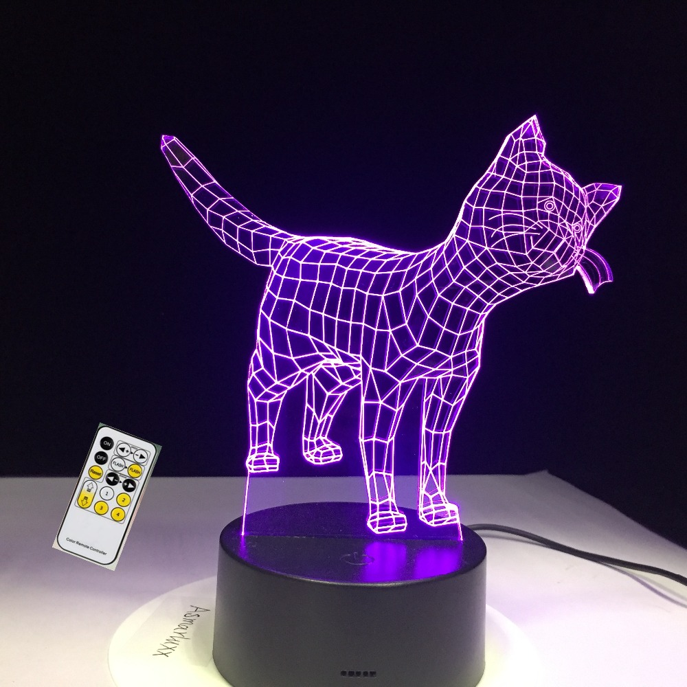 Cute Little Cat Kitty Animal 3D Lampen 7 Color USB Night Lamp LED Lights for Kids Birthday Gift Support Dropshipping тумба под телевизор tv 5