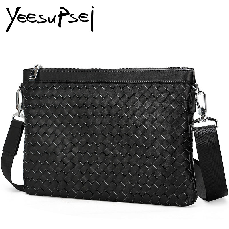 YeeSupSei Men Genuine Leather Messenger Bag Knitting Fashion Casual Bag High Quality Shoulder Bag Male Fashion Business Work Bag