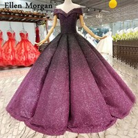 Gradual Colorful Glitter Fabric Wedding Dresses 2018 Vestido De Noiva Sexy Off Shoulder Lace Up Puffy Ball Gowns Bridal Gowns