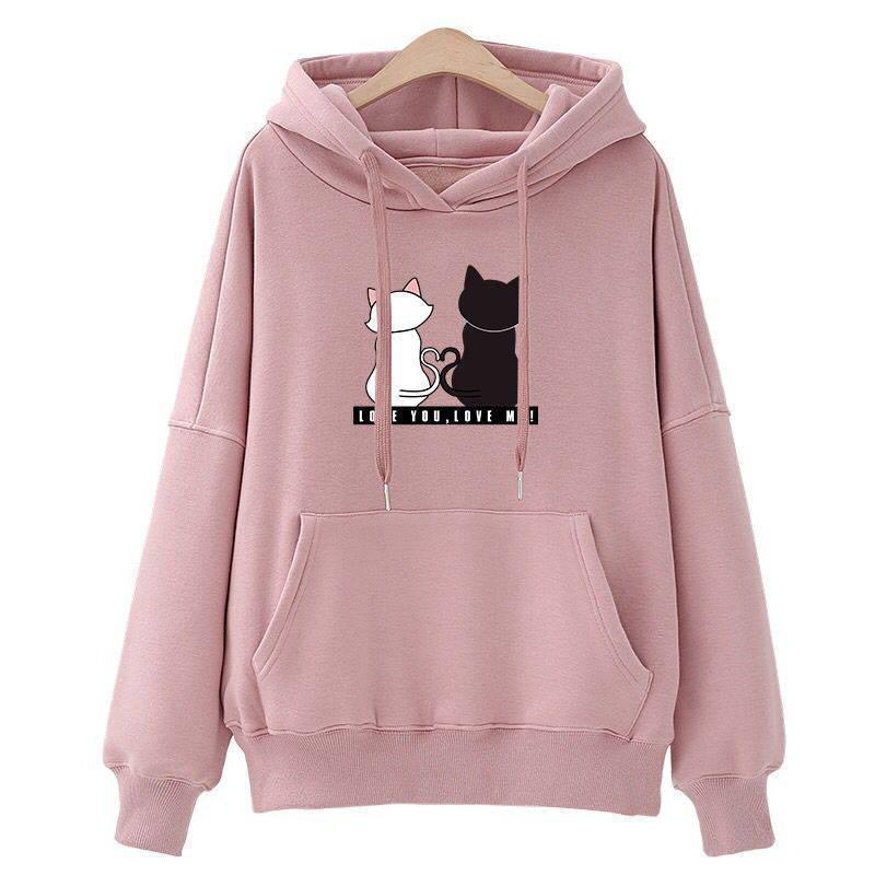 Manubeau Harajuku Women Hoodies Sweatshirt Kawaii Pink Spring Winter Cat Lover Pattern Long Sleeve Moletom Hooded Sweatshirts