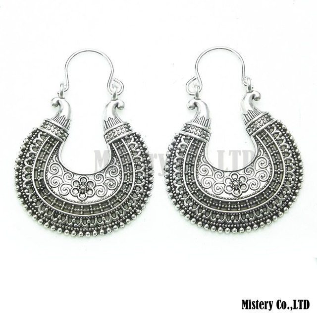 Antique Silver Color Carved Moon Flower Vintage Ethnic Drop Dangle Earrings Whole Jewelry Jewellery Gift For