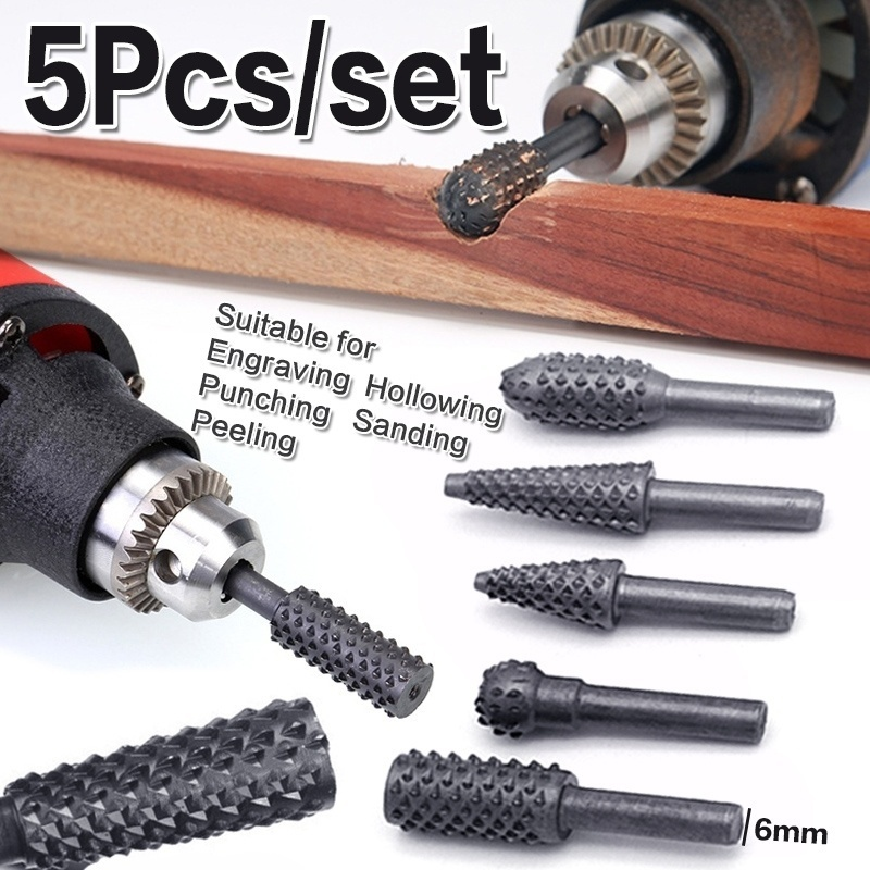 Hss Rotary Files Burr Drill Rotating Thorn Head 5pcs/set Polishing Accessories DIY Electric Grinding Head  Woodworking Tools