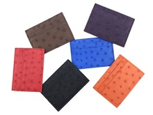 Unisex genuine real ostrich skin leather card holder case,ostrich skin leather credit card holder