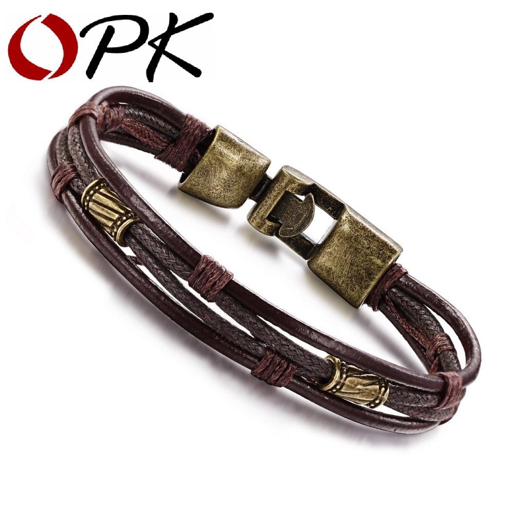 OPK Moda Multi-Camada de Couro Genuíno Homem Pulseiras Casual/Sporty Fácil Gancho Da Liga Chain link Homens Jóias Barato preço