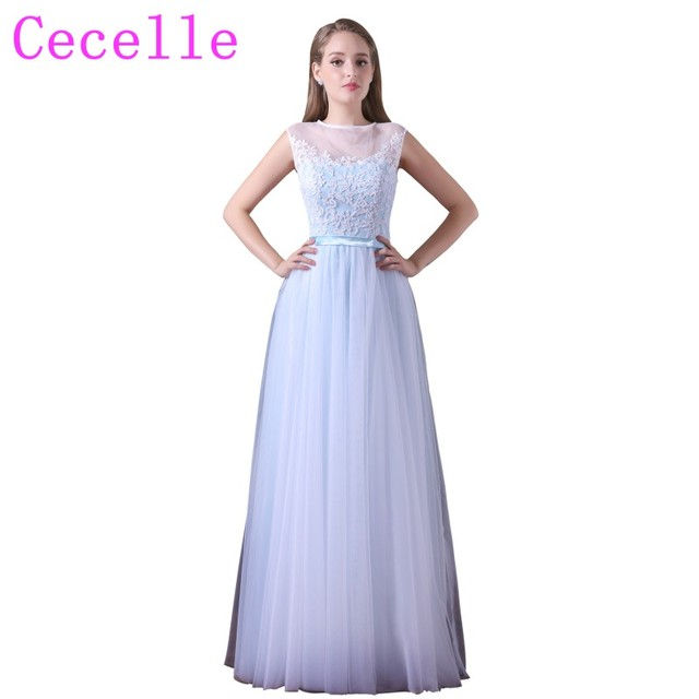 d4f13d779db Simple Light Blue Long Bridemsaid Dress Lace Top Tulle Skirt Formal Country  Western Wedding Party Dresses Maids of Honor Dre