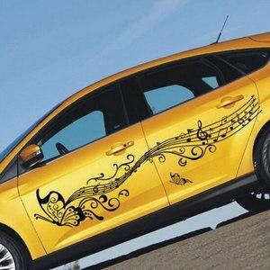 Image 1 - 1 пара 223 см музыкальные автомобильные наклейки и наклейки Бабочка Авто Наклейка на весь корпус двери виниловые аксессуары для стайлинга автомобиля