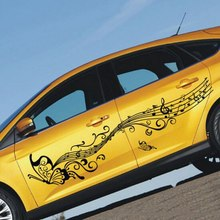 1 par 223cm música adesivos de carro e decalques borboleta auto corpo inteiro adesivo portas vinil estilo do carro acessórios