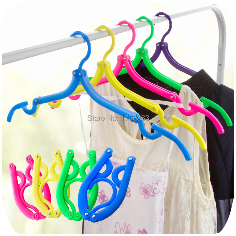 300pcs Travel Portable Cloth Hangers Plastic Foldable Cloth Hook Coat Cloth Rack Free Shipping