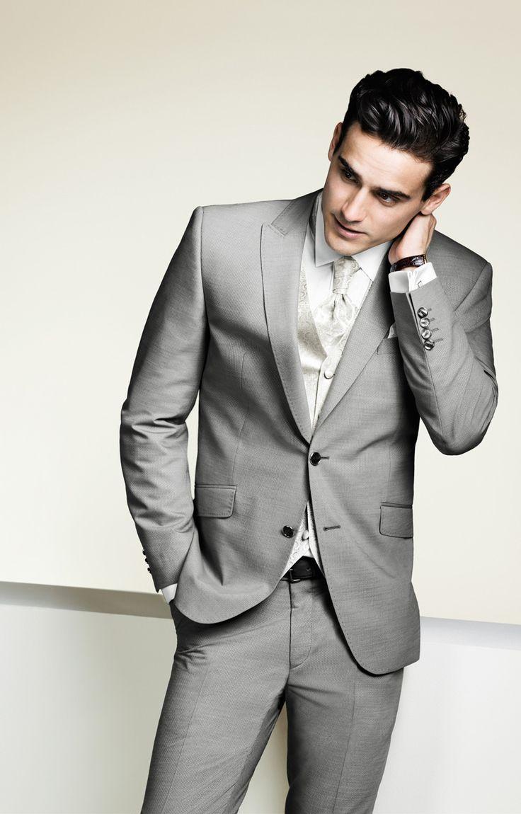 Light Grey Tuxedo Wedding Men Suits For Men Formal Suit Groom ...