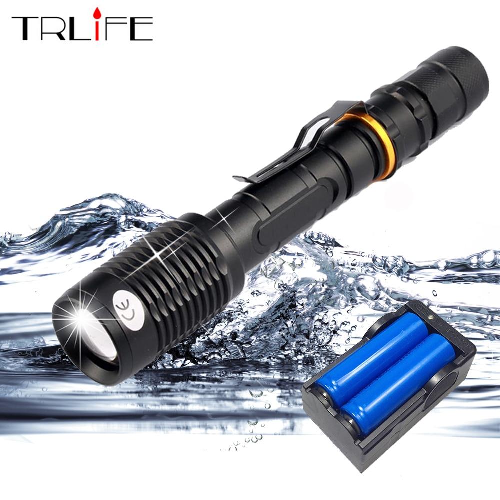 Super Bright 8000 Lumen L2/T6 LED lampe de Poche Torche Lampe Tactique 5 Modes Étanche Zoomables Flash Lumière Utiliser 2x18650 Batterie
