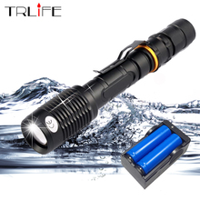 Super Bright 8000 Lumen L2/T6 LED Flashlight Torch Lamp Tactical 5 Modes Waterproof Zoomable Flash Light Use 2x18650 Battery