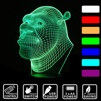Cartoon Shrek Lamp 3D Visual LED Night Lights For Kids Remote Touch Light USB Acrylic Colorful