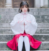 Women Chinese Vintage Cat Embroidey White Coat Tops Red Skirt Set Outfit Fall Winter Costume