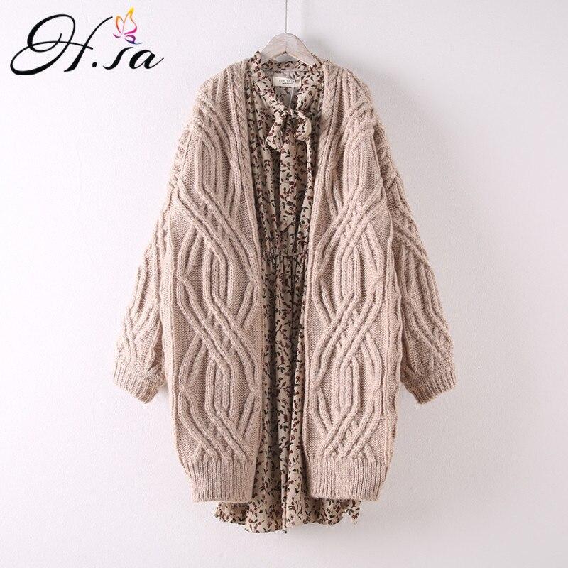 H.SA Long Twisted Chic Knit Cardigan H8581