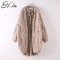 H.SA Women WInter Sweater Cardigans Long Knitted Jacket Coat Thick Jumpers V neck Twisted Chic Harajuku Knit Cardigans Poncho
