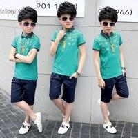 2-14 years Kids Fashion Clothes Boys Summer Set Deer Print Shirt + Short Boy Suit Clothing Sets Teenager Boy Clothes Set