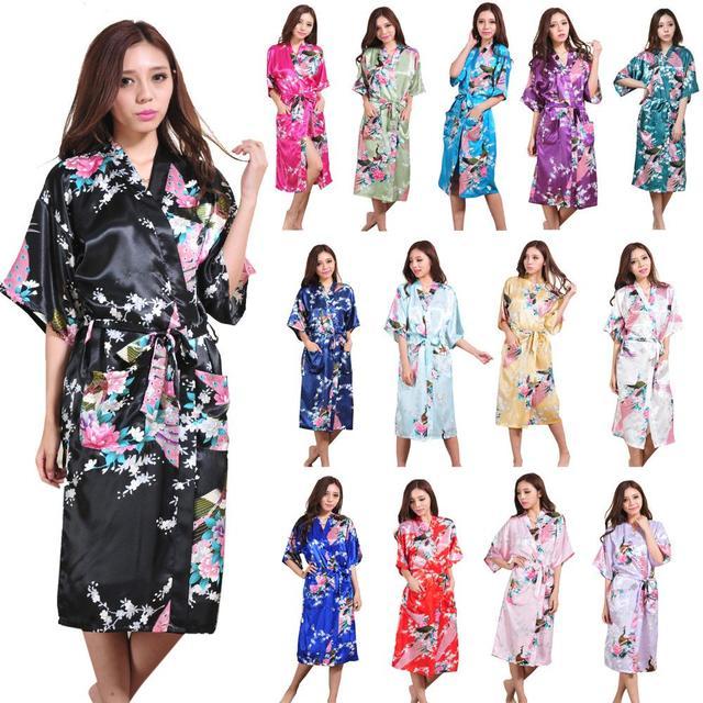 FUNOC New Lady Satin Kimono sexy Pavão Vestir Vestido Longo Roupão De Banho Das Mulheres Night Dress Pijamas peignoir albornoz mujer Y1