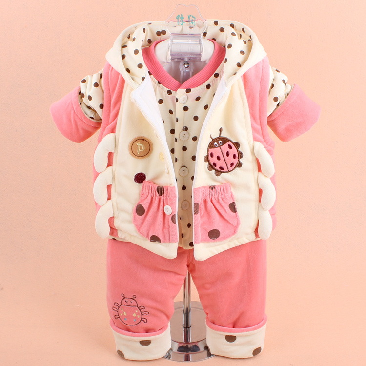 2018 Fall Winter Baby Infant Kid 3 Pcs Set Little Girls & Boys Cute Splicing Thick Vest Coat + Tops + Pant Newborn Clothing G680 hot 3 pcs 2018 baby kids fall winter clothing set newborn thick cotton padded clothes boys girls hooded vest coat tops pant g107