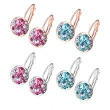 MEGREZEN Pink Brincos Charms Rose Gold Cubic Zirconia Earrings Earring Jewelry For Women Christmas Earring Wholesale Ake046