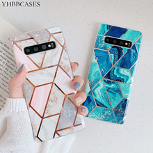 YHBBCASES Retro Plating Geometry Marble Soft TPU Cases For Samsung Galaxy S8 S9 S10 Plus Couples Fashion Glossy Phone Cover