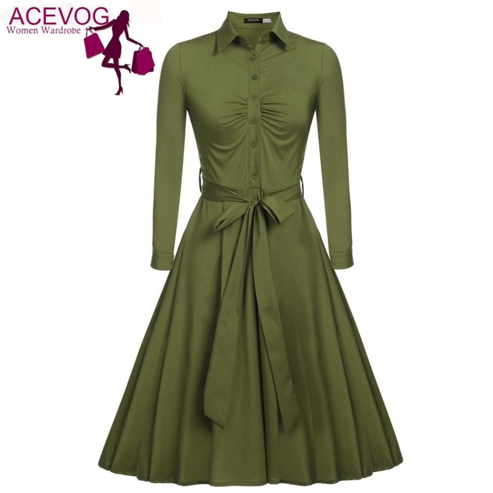 ACEVOG Women Casual Shirt Dress Big Swing Long Sleeve Autumn Winter 2018 New HOT Vestido De Festa Elegant Dress Black 3 COLOR