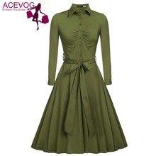 Acevog Для женщин Повседневная рубашка платье большие качели с длинным рукавом осень-зима 2018 Новый горячий Праздничное платье элегантное платье черный 3 цвета