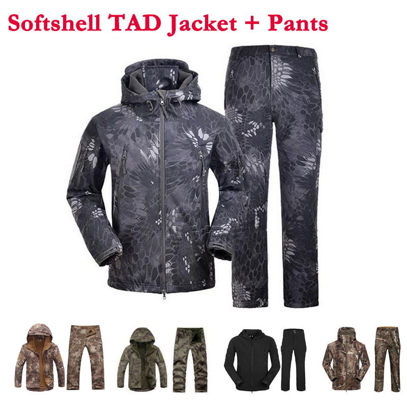 Outdoor Sport Softshell Jackets And Pants Men Hiking Hunting Clothes TAD Camouflage Military Tactical Sets Camping Hunting Suits