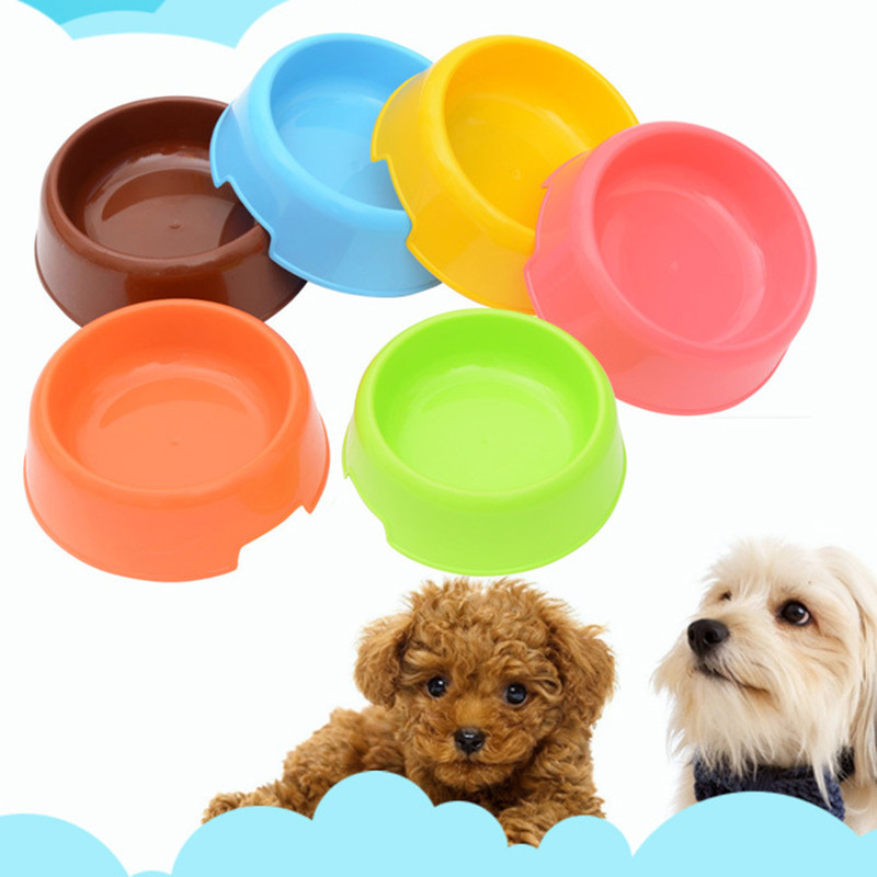 Plastic Dog Bowl Portable Pet Food Container Round Shape Cat Food Bowl Puppy Water Feeder Dog Accessories Supplies Free shipping
