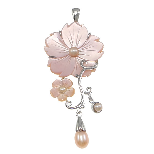 New Pearl Jewelry beautiful flower design Natural Pearl Pendant Pearl Necklace Pendant necklace For Women best gift