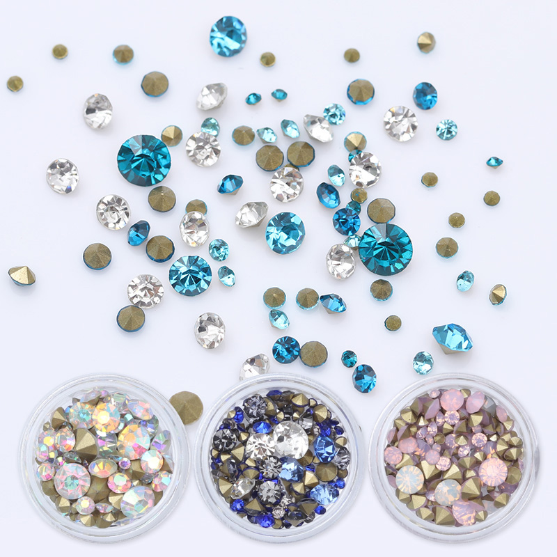 3.5g Multi-size Sharp Bottom Rhinestone 3D Nail Decoration Colorful Mixed Manicure Nail Art Decor 4 6 waterdrop shape 3d nail art sharp bottom glass rhinestone nail tip decoration phone decor accessories 10pc