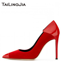 Women Pumps Elegant Party Dress Dance Heels Wedding Bridals Pointed Toe Red Faux Suede Patent Leather Slip On Fashion shoes 2019 light khaki dress shoes suede faux leather round toe pumps platform leopard high heels slip on women shoes real photo us14