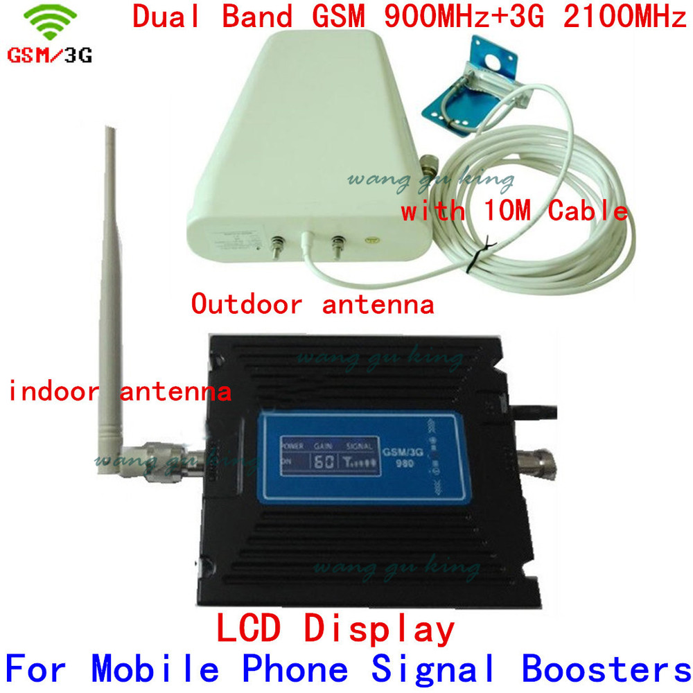 Full Set 20 Dbm Gain 60dbi LCD Display Dual Bands GSM+3G Booster Repeater Mobile Booster 2G 3G WCDMA Repeater Amplifier