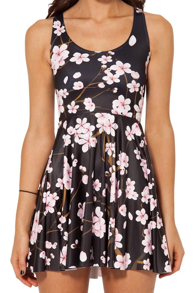 Japanese Cherry Blossom Black Dress Casual Tank Dress Vestidos Sexy Pleated Skater Dresses Reversible Skater Dress
