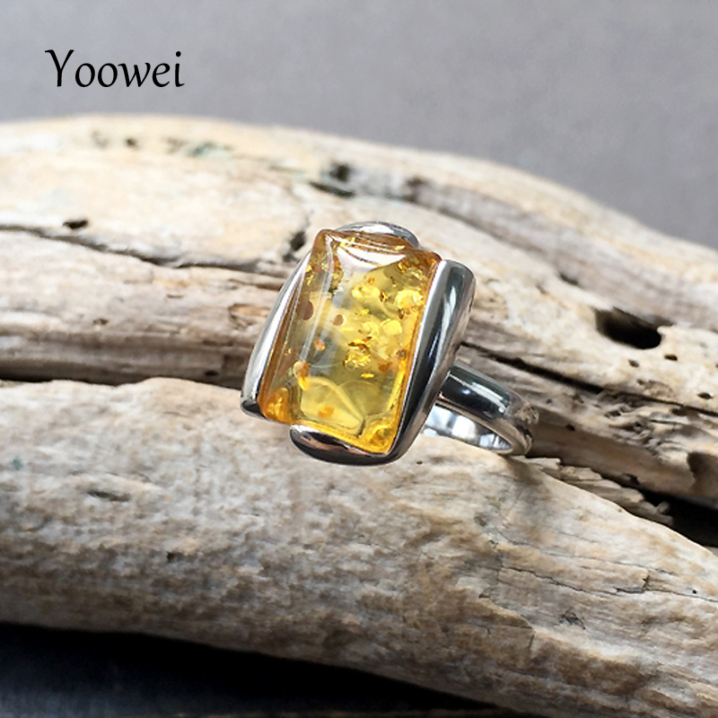 Yoowei Baltic Genuine Amber Rings for Women Gorgeous Gift Certificate Golden Gems Size 7 Natural Amber
