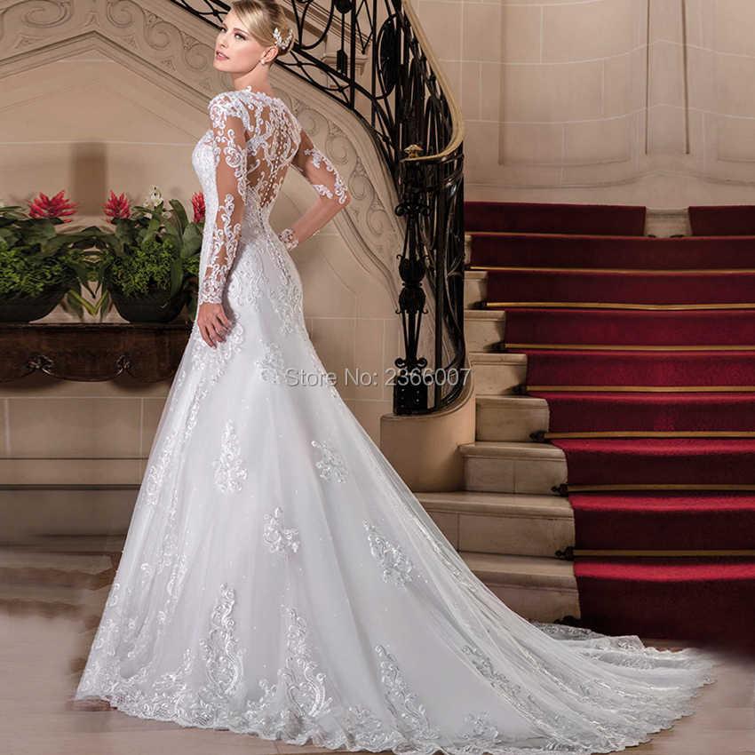 Vestido De Noiva Princesa одежда с длинным рукавом Свадебные платья Русалочки 2018 аппликационные Жемчужины для Кружева Свадебные платья на заказ Made Невеста платье