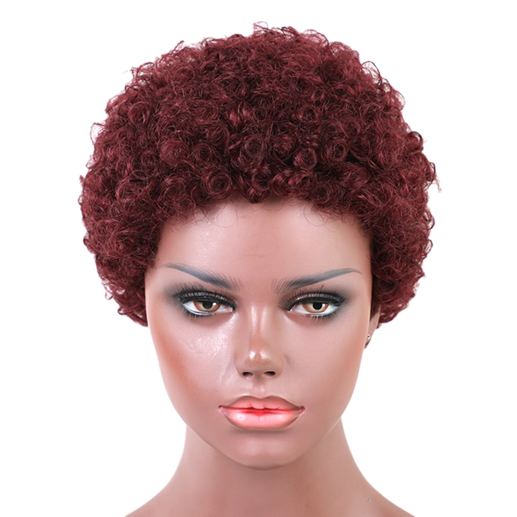 100% Real Human Hair None Lace Front Wigs for Women Afro Kinky Curly Soft Tight Curls 8inch High Density Medium Cap- Wine Red