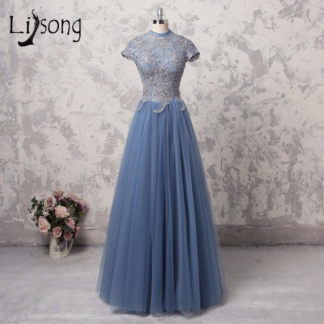 Vintage Dusty Blue Mother Of The Bride Lace Dresses Long Formal Party Dress Tulle Short Sleeves