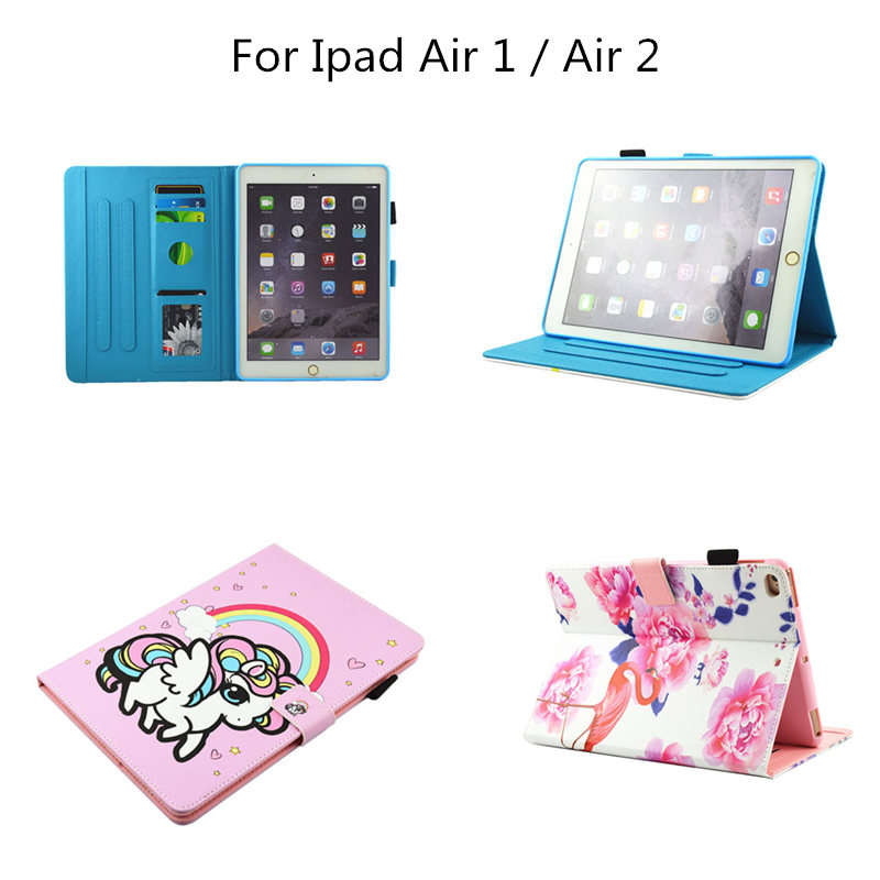 PU Leather Case Fold Stand Magnetic buckle Flip Tablets Cover For Apple iPad Air 1 Air 2 case for ipad Air1 Air2 smart Cute case nice soft pu leather case for apple 2017 new ipad air 1 cover slim thin flip tpu silicone protective magnetic smart case shell