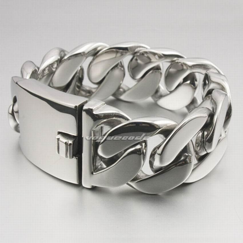 Bracelet de motard à chaîne en acier inoxydable 316L pour hommes en acier inoxydable LINSION 5E001 livraison gratuite