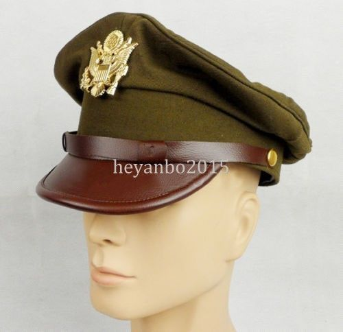 Size M WW2 US Army Officer Crusher Hat Cap With Golden Eagle Badge Canavs