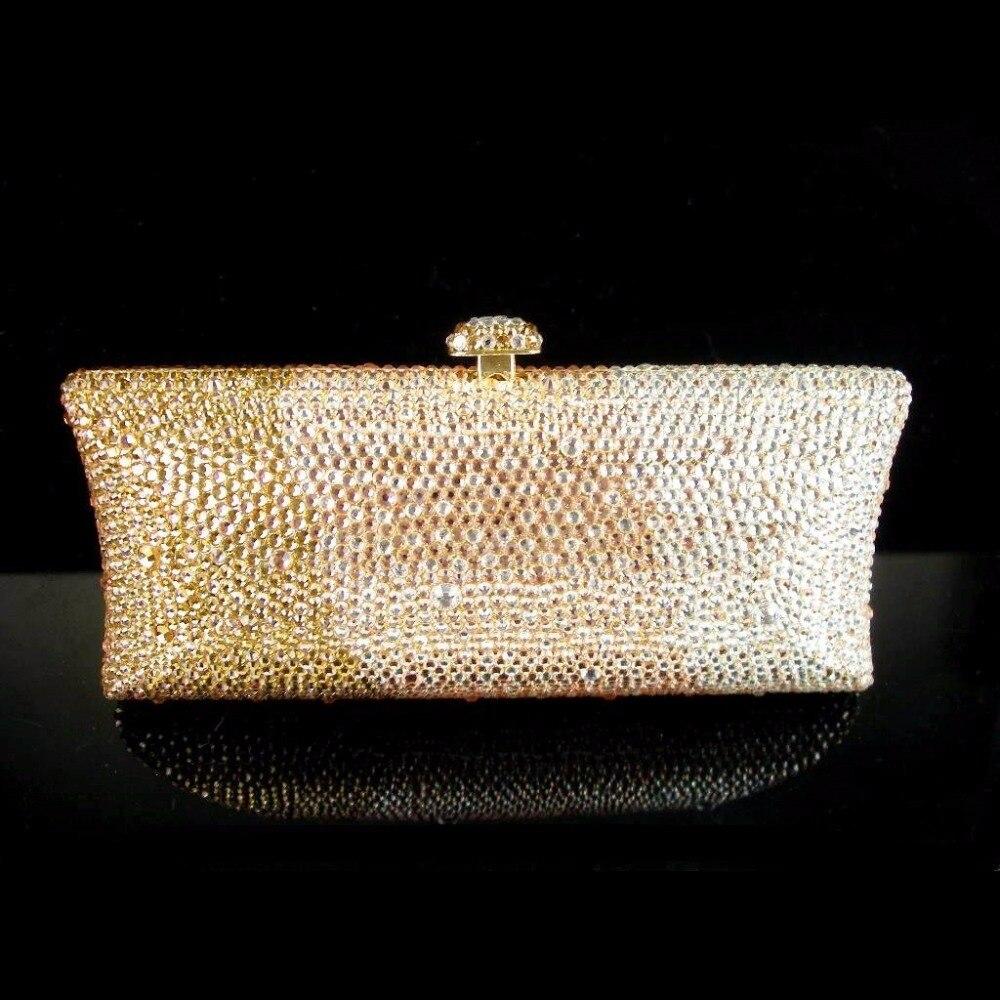 ФОТО S7735Z Crystal Gold in Gradual change effect Lady fashion Bridal Metal Evening purse clutch bag case handbag box