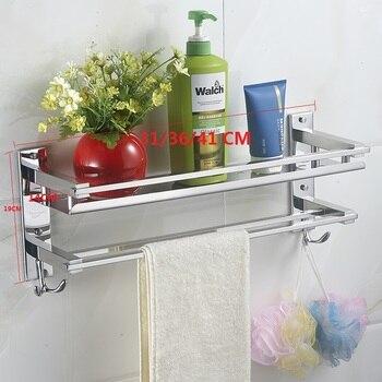 Vidric toalla DIY acero inoxidable 304 baño WC estanterías soporte monocapa  toallero con ganchos con colgante 3511b2ec05f8