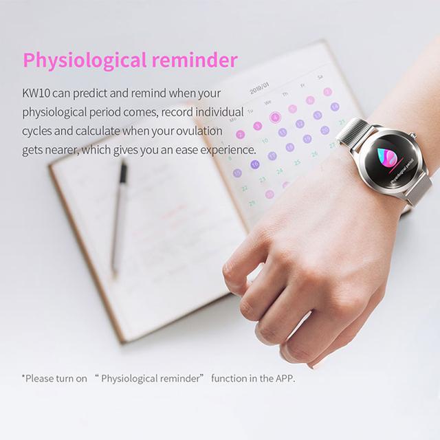 LEMFO KW10 Smart Watch Women 1.04 Inch Screen IP68 Waterproof Heart Rate Monitor Physiological Reminder Sport Fitness Bracelet