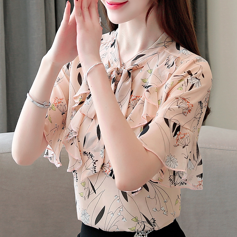 Fashion women blouse and tops 2019 lady tops off shoulder top harajuku shirts chiffon blouse white blouse Bow Floral in Blouses amp Shirts from Women 39 s Clothing