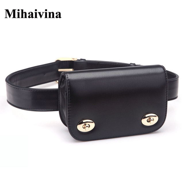 Mihaivina New Fashion Women Belt Leather Women Bag Lady's Waist Bags Pack Femal Phone Pouch Small Waist Pack Bag