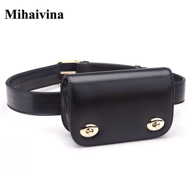 c89ca2fbb Mihaivina New Fashion Women Belt Leather Women Bag Lady's Waist Bags Pack  Femal Phone Pouch Small Waist Pack Bag