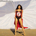 Сексуальная Нет Бикини Печати женская Рукавов Комбинезоны Лето Одежда для Пляжа Совок Шеи цельный Общий Chicanary