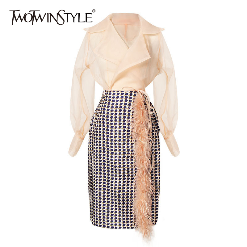 TWOTWINSTYLE Women Skirt Suits Chiffon Lantern Sleeve Lace Up Shirt With Geometric Feather Patchwork Midi Skirts Elegant Clothes