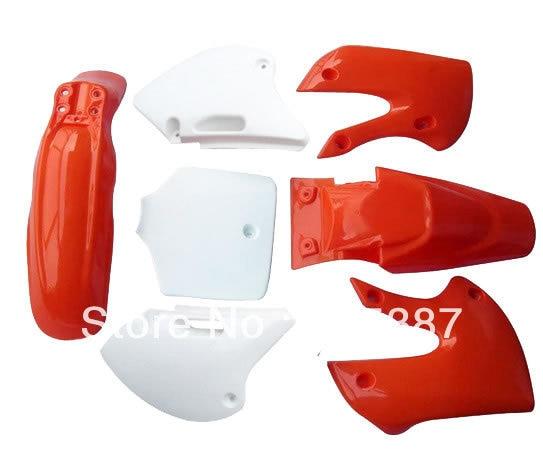 ФОТО Motorcycle Dirt Bike Body Plastic Fender For  BBR KLX110 KX White & Red