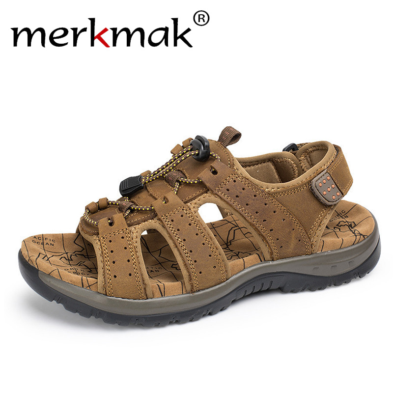 Merkmak Men's Sandals Summer High Quality Brand Shoes Beach Men Sandals Causal Shoes Genuine Leather Fashion Outdoor Waterproof junjarm men s sandals suede leather summer beach shoes fashion mens beach sandals high quality knit weaven water shoes